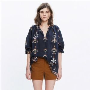 Madewell Navy Folkstitch Popover Top